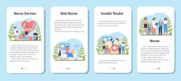 Zestaw bannerów aplikacji mobilnej usługi pielęgniarki. zawód medyczny, personel szpitala i przychodni. profesjonalna pomoc dla starszej cierpliwości. ilustracja na białym tle wektor