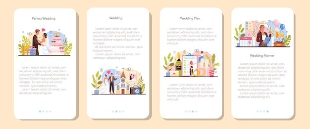 Zestaw bannerów aplikacji mobilnej wedding planner. profesjonalny organizator
