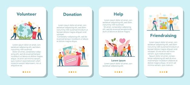 Zestaw bannerów aplikacji mobilnej wolontariusza