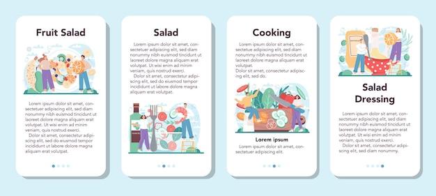 Zestaw bannerów aplikacji mobilnej ze świeżą sałatką, ludzie gotują ekologicznie