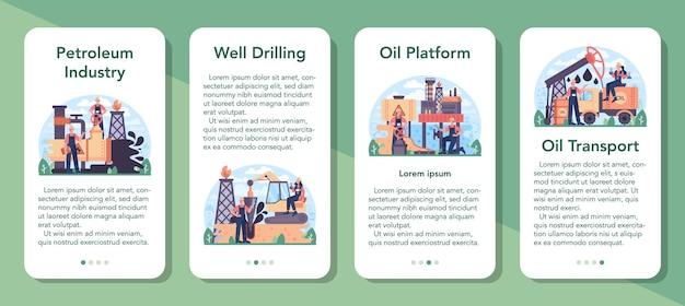 Zestaw bannerów aplikacji mobilnych przemysłu naftowego. platforma pumpjack wydobywająca ropę naftową z wnętrzności ziemi. produkcja ropy naftowej. ilustracja na białym tle płaski wektor