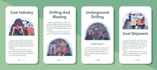 Zestaw bannerów aplikacji mobilnych przemysłu węglowego. wydobycie surowców mineralnych i naturalnych. górnicze i przemysłowe poszukiwania surowego węgla. nowoczesna technologia wytwarzania energii. ilustracja wektorowa