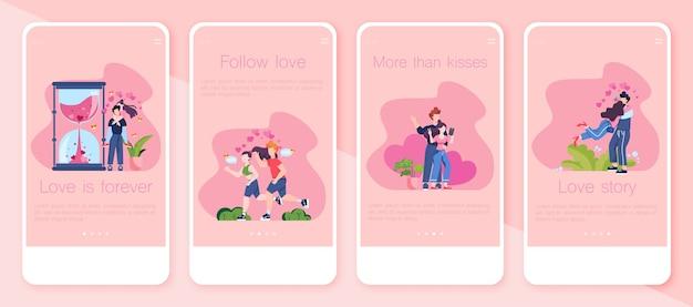 Zestaw bannerów aplikacji walentynki. zakochani ludzie. kochanek świętuje romantyczną randkę. idea związku i miłości. wiadomość dotycząca karty walentynkowej.