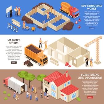 Zestaw bannerów aspekty budowlane