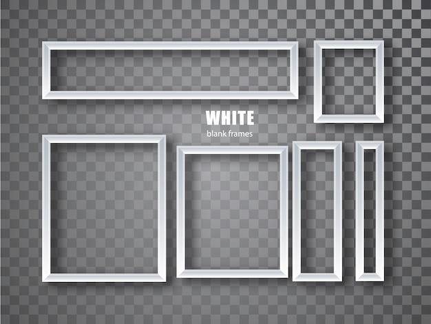 Zestaw bannerów białych ramek. tabliczki z miejscem na napisy na przezroczystym tle. pusta ramka.