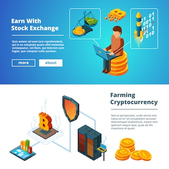 Zestaw bannerów biznesowych kryptowaluty, global ico blockchain kryptowaluty cyfrowe firma pieniądze monety wydobywające izometryczny zestaw bannerów