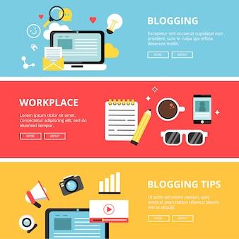 Zestaw bannerów blogów, mediów społecznościowych i praw autorskich, reklamy