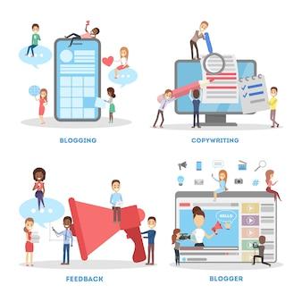 Zestaw bannerów blogowania. koncepcja copywritingu i informacji zwrotnej