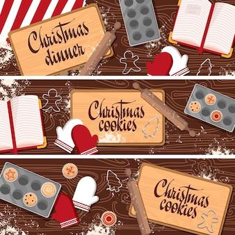 Zestaw bannerów boże narodzenie nowy rok z drewnianym stołem