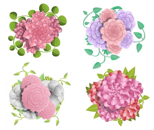 Zestaw bannerów camellia. ilustracja kreskówka baner wektor kamelia zestaw do projektowania stron internetowych