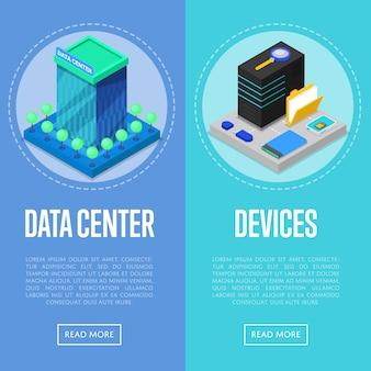 Zestaw bannerów centrum danych i urządzeń komputerowych