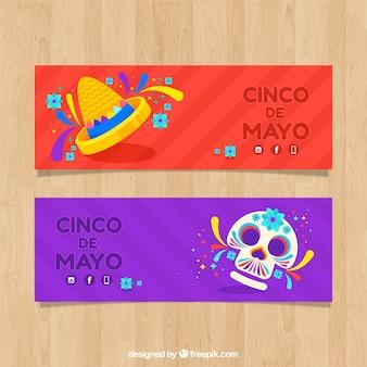 Zestaw bannerów cinco de mayo z czaszki w stylu płaski