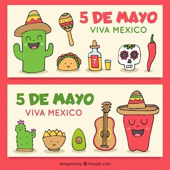 Zestaw bannerów cinco de mayo z tradycyjnymi elementami