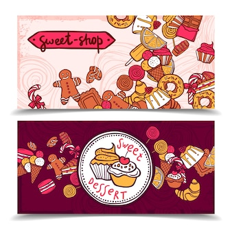 Zestaw bannerów cukierków sztuka słodycze
