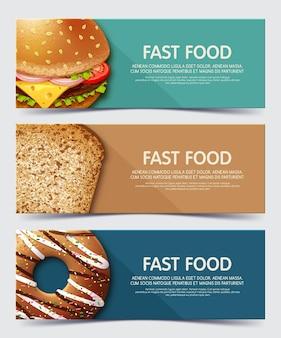 Zestaw bannerów dla szablonu banerów internetowych fast food