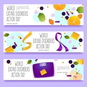 Zestaw bannerów dnia akcji zaburzeń odżywiania świata kreskówka