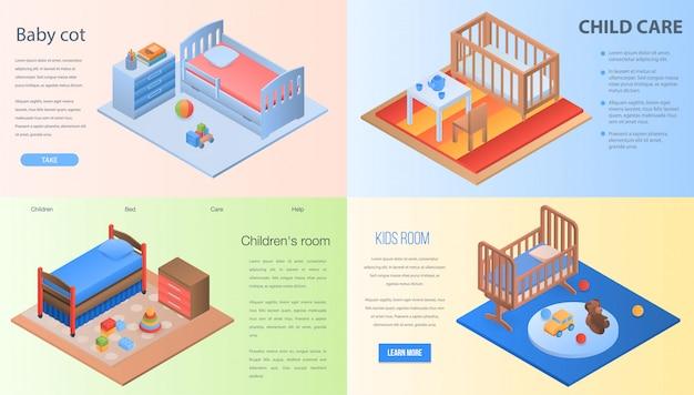 Zestaw bannerów do łóżeczka dziecięcego. izometryczny zestaw łóżeczko dziecięce transparent wektor do projektowania stron internetowych
