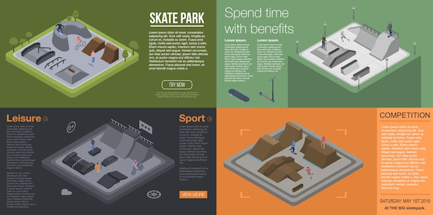 Zestaw bannerów do parku skate. izometryczny zestaw banner wektor skate park na projektowanie stron internetowych