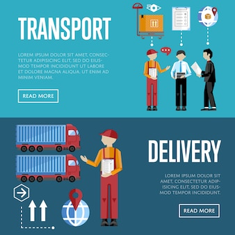 Zestaw bannerów dostawy i logistyki