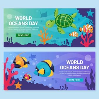 Zestaw bannerów dzień oceanów ekologicznych płaskich światów