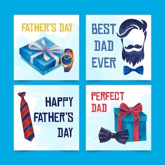 Zestaw bannerów dzień ojca akwarela