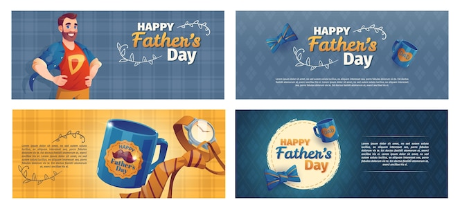 Zestaw bannerów dzień ojca kreskówka