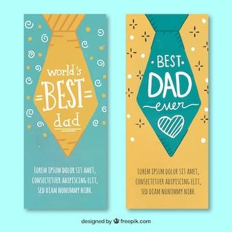 Zestaw bannerów dzień ojca z krawatów