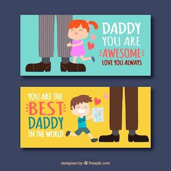 Zestaw bannerów dzień ojca z słodkie dzieci