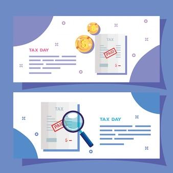 Zestaw bannerów dzień podatku z ikonami