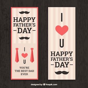 Zestaw bannerów dzień szczęśliwy ojca w płaski