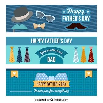 Zestaw bannerów dzień szczęśliwy ojca z elementami w stylu płaski