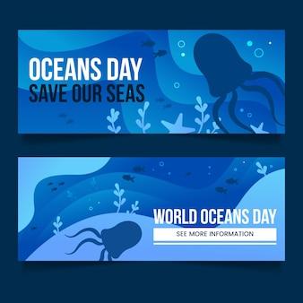 Zestaw bannerów gradientu światowego dnia oceanów