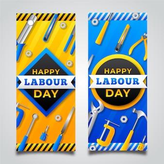 Zestaw bannerów gradientu święta pracy