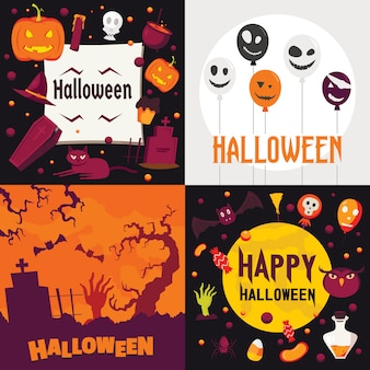 Zestaw bannerów halloween.