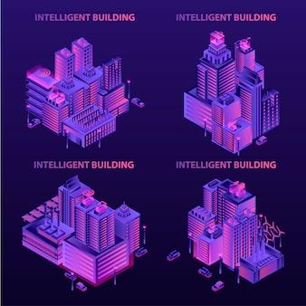 Zestaw bannerów inteligentnego budynku. izometryczny zestaw transparent wektor budynku inteligentnego do projektowania stron internetowych