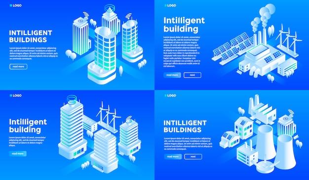 Zestaw bannerów inteligentnego budynku.