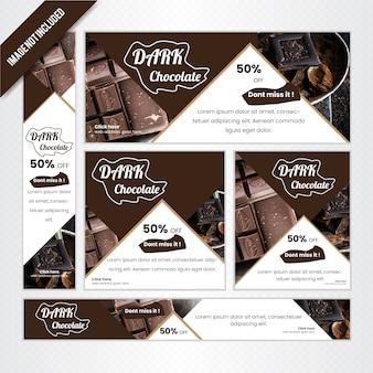 Zestaw bannerów internetowych do sklepu z czekoladą
