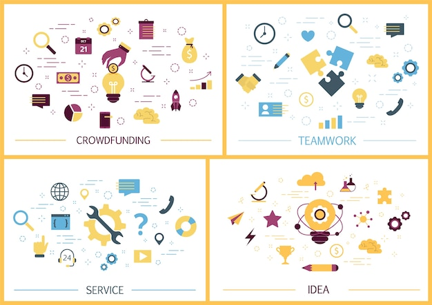 Zestaw bannerów internetowych firmy. pomysł i kreatywne myślenie