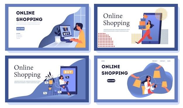 Zestaw bannerów internetowych zakupów online. obsługa klienta i dostawa, śledzenie i zakup. baner internetowy e-commerce. zakupy online i marketing mobilny. ilustracja