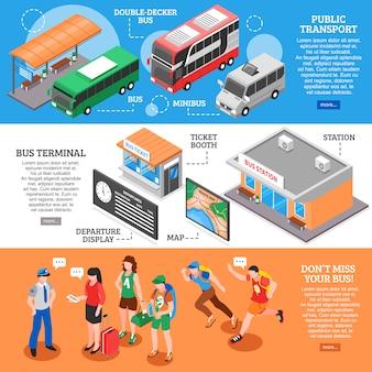 Zestaw bannerów izometrycznych dworca autobusowego