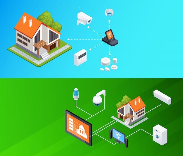 Zestaw bannerów izometrycznych smart home