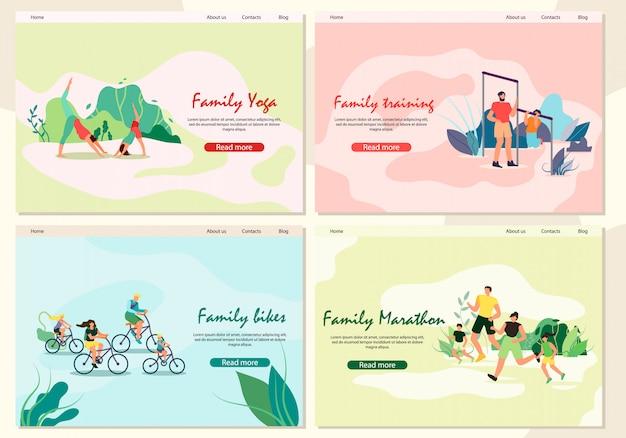 Zestaw bannerów joga rodzinna, trening, maraton, rowerzysta. ojciec i syn są zaangażowani w bar park. aktywność rodzice z dziećmi uprawiającymi jogging na świeżym powietrzu. dzieci i rodzice jeżdżą na rowerach.
