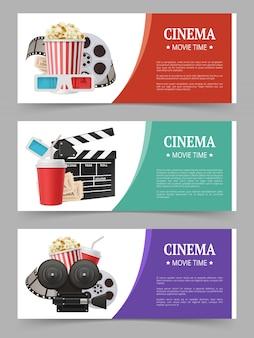 Zestaw bannerów kinowych, ulotka filmowa z symbolami filmów, kamera, okulary stereo