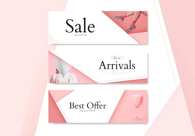Zestaw bannerów kobiecych zakupów