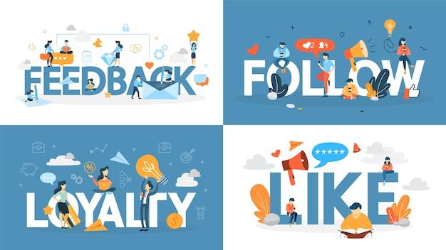 Zestaw bannerów koncepcji lojalności. pomysł na zbudowanie relacji z klientem, uzyskanie opinii i pozytywnej oceny. komunikacja z konsumentem. ilustracja wektorowa płaski