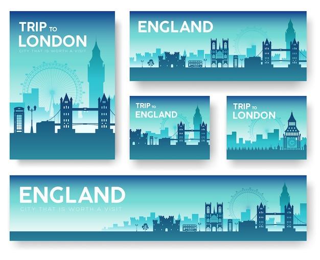 Zestaw bannerów krajobraz anglii
