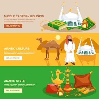 Zestaw bannerów kultury arabskiej