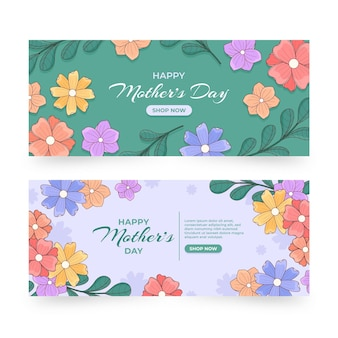 Zestaw bannerów kwiatowy dzień matki