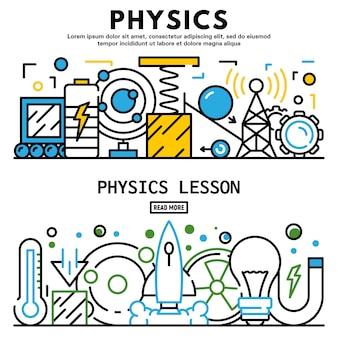 Zestaw bannerów lekcji fizyki, styl konspektu