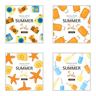 Zestaw bannerów letnich na reklamę i rabaty